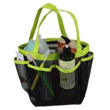 Outdoor Camping Quick Dry Mesh Shower Accessories Tote With Handle-Green