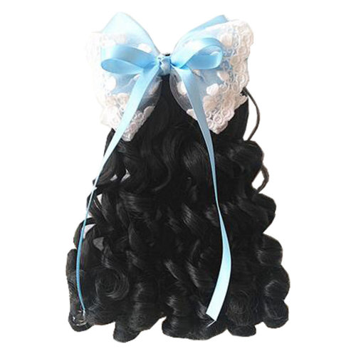Children Girls Long Curly Wigs Hair Extensions Hair Clip Kids Wig Hairpiece, C
