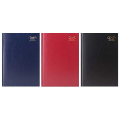 A4 2019 Appointment Diary Day A Page Hardback [BURGUNDY]