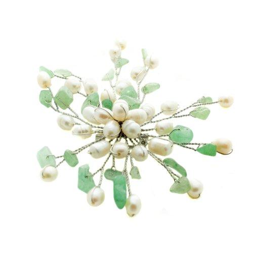 Pearl Brooch White Freshwater Pearls with Aventurine Gemstones