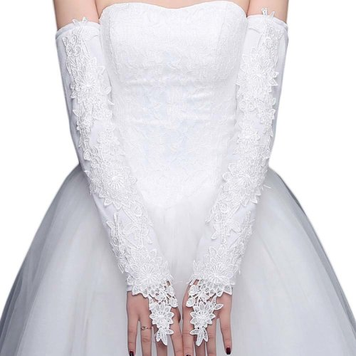 Bridal Wedding Gloves Party Dress Lace Long Gloves A01