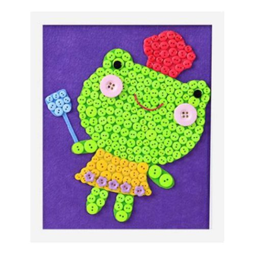 Adorable Frog DIY Button Painting Mosaic Craft for Kids
