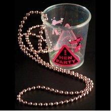 Alandra Hen Night Shot Glass - Pink Beads - Necklace Party Accessories Bride -  hen shot glass necklace party night pink accessories bride girls out