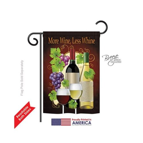 Breeze Decor 67022 More Wine, Less Whine 2-Sided Impression Garden Flag - 13 x 18.5 in.