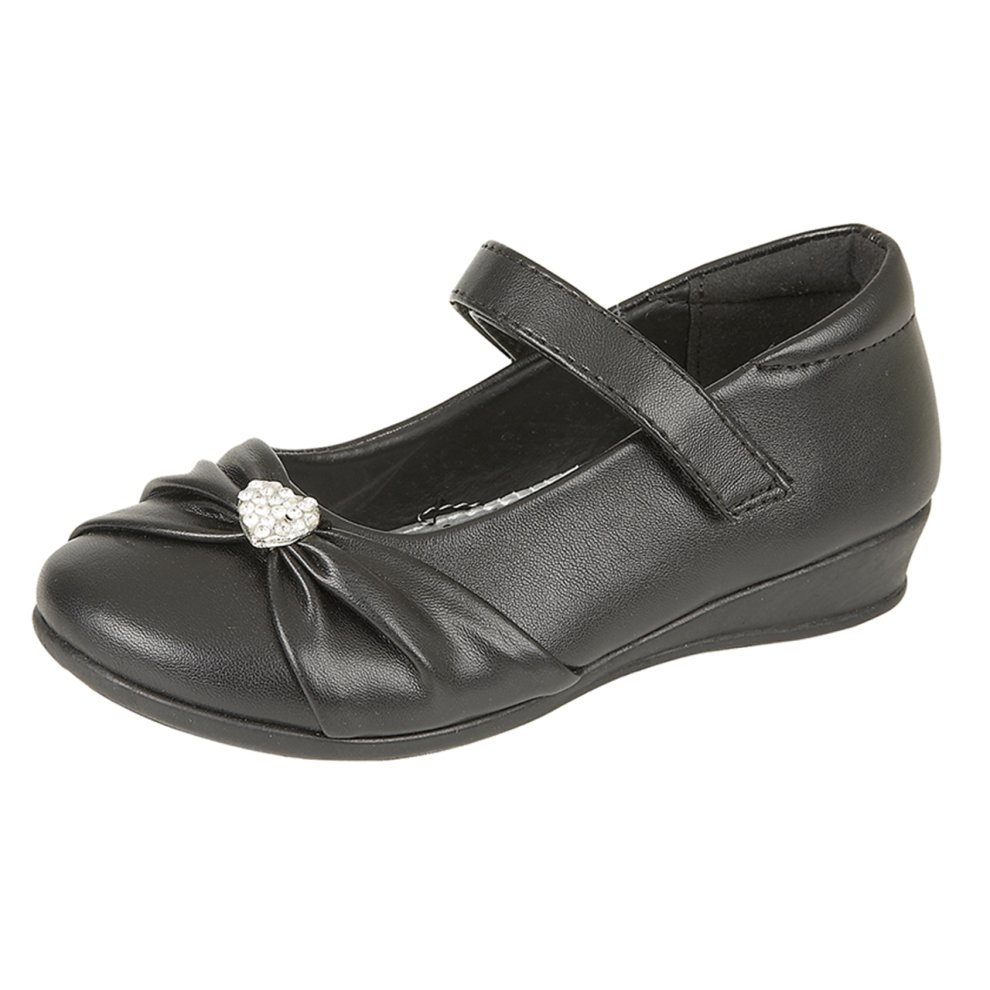 Girls Spot On Slip On Synthetic School Shoes