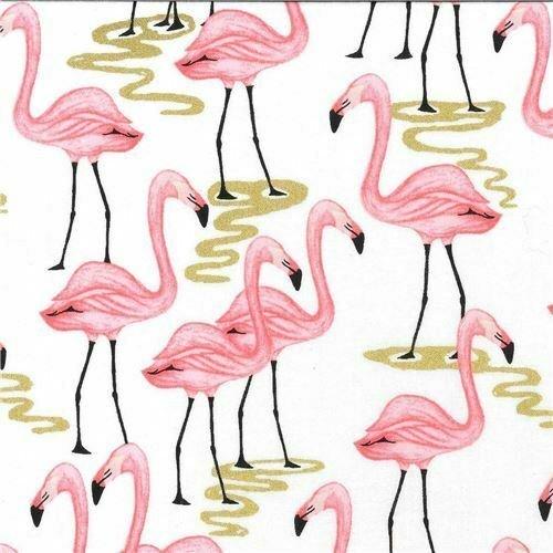 Fat Quarter Flamingo Bay Cotton Quilting Fabric White Birds