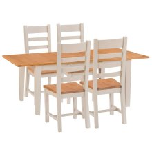 St. Ives Truffle Painted Oak 1.6m Ext. Table & 4 Wooden Seat Chairs