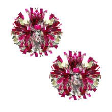 Set of 2 Plastic Ring Pom Metallic Cheerleading Poms 100g Rose+Silver