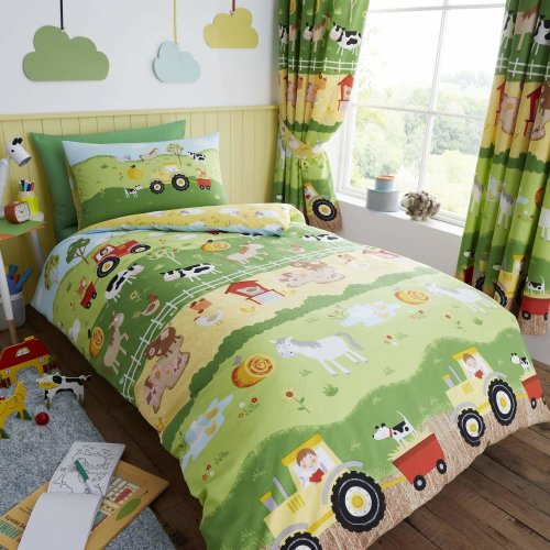 Happy Linen Company Childrens Boys Girls Farm Animals Counting Sheep Green Yellow Reversible Single Bedding Duvet Cover Set