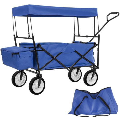 Foldable pull along trolley with roof incl. carrying bag blue