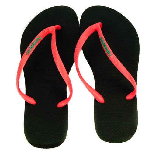 Havaianas Slim Flip Flops Black & Coral