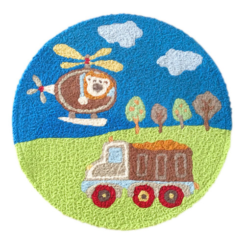 [Plane & Car] Children Bedroom Decor Rug Embroidered Mat Cartoon Carpet,23.62x23.62 inches