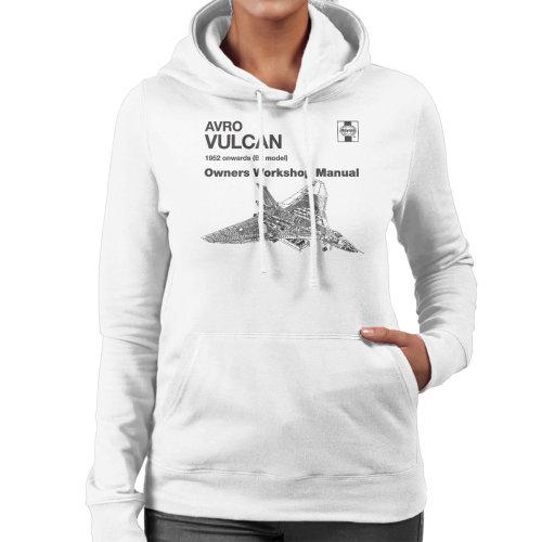 (Medium, White) Haynes Owners Workshop Manual Avro Vulcan 1952 B2 Women's Hooded Sweatshirt