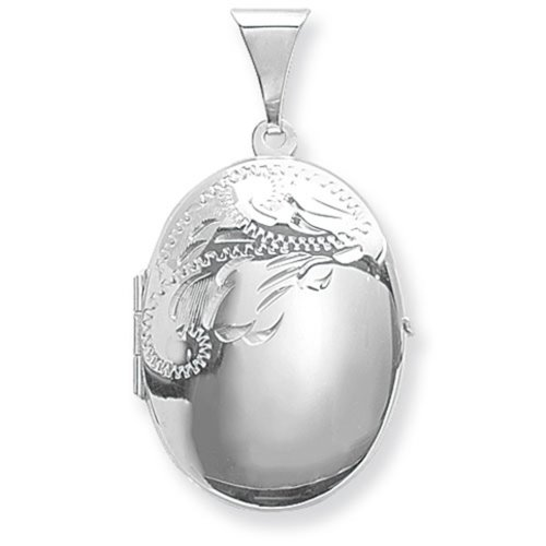 Childrens Sterling Silver Medium Half Engraved Oval Locket On A Curb Necklace