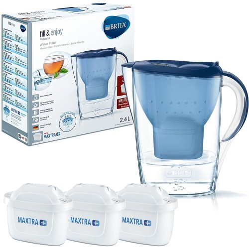 BRITA Blue 2.4L Marella Water Jug & 3 MAXTRA+ Plus Filters