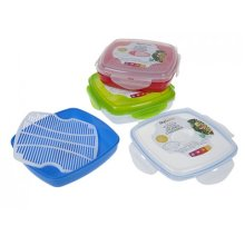 Plastic Rectangular Microwave Steamer Containers With Clip Top -  new square microwave steamer healthy cooking steaming vegetables fish pms red green