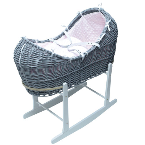 Pink Dimple Grey Wicker Moses Basket Pod And White Rocking Stand