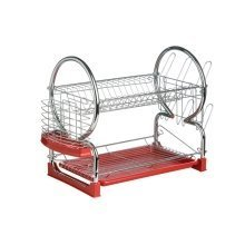 2 Tier Dish Drainer, Red & Chrome