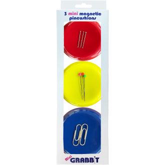 "Mini Grabbit Magnetic Pincushion 3/Pkg-3"" Round - Assorted Colors"