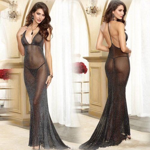 Illusion Sexy Sheer Lingerie Long Transparent Dress Nightwear Gown