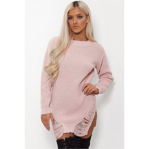 Isa Pink Ripped Hem Oversized Jumper