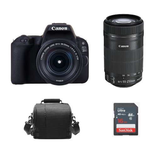 CANON 200D Black + EF-S 18-55mm + EF-S 55-250mm + Bag + 16GB SDcard