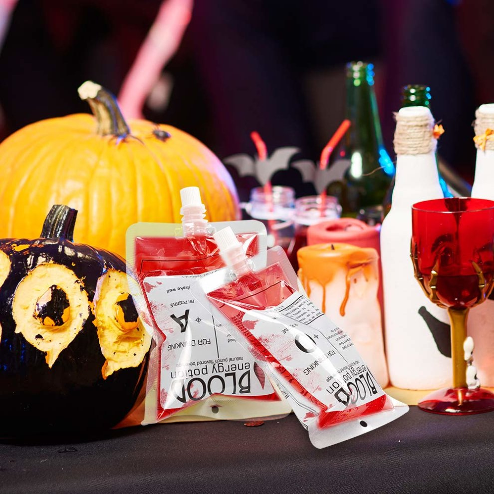 Halloween Theme Party.Anear Blood Bag Halloween Party Cups Drink Container For Halloween Theme Party Costume Props 10 Pack