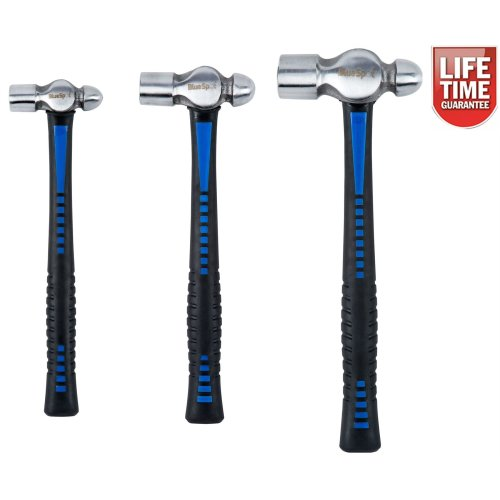 BlueSpot 3pc Ball Pein Hammer Set | 8oz, 16oz & 32oz TPR Handle Hammers