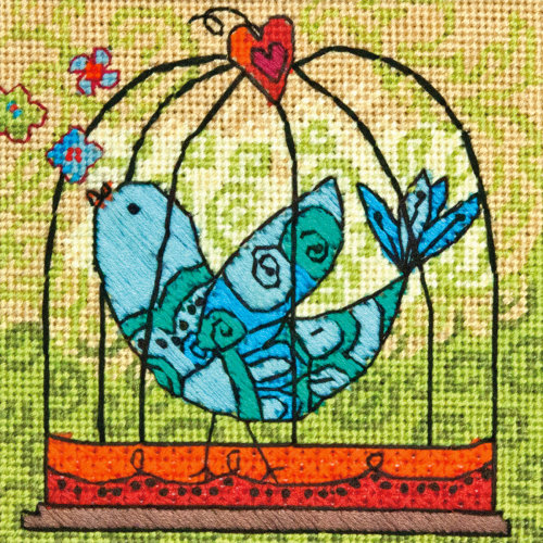 "Dimensions Mini Needlepoint Kit 5""X5""-Birdie Stitched In Thread"