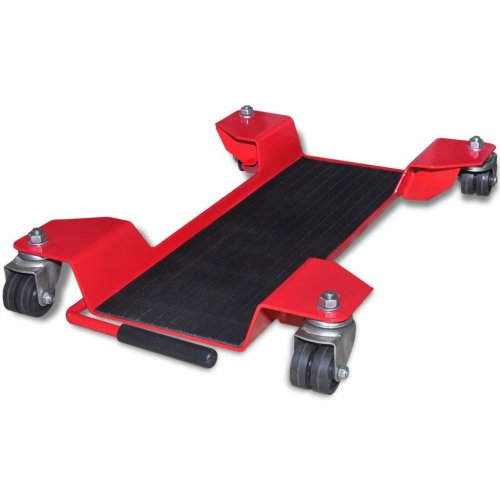 vidaXL Motorcycle Dolly Centre Stand Red Motorbike Tool Garage Mover Paddock