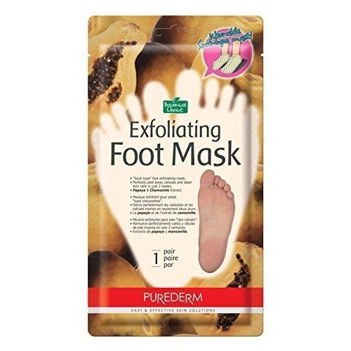 Purederm Exfoliating Foot Mask Papaya & Chamomile Extract -Sock type Foot Exfoliating Mask - Perfectly Peel Away Calluses and Dead Skin Cells in...