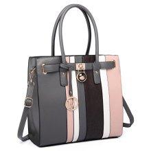 Miss Lulu Women Stripe Padlock Handbag Shoulder Bag