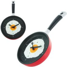 Frying Pan kitchen Wall Clock with Fried Egg face Fork Knife Hands