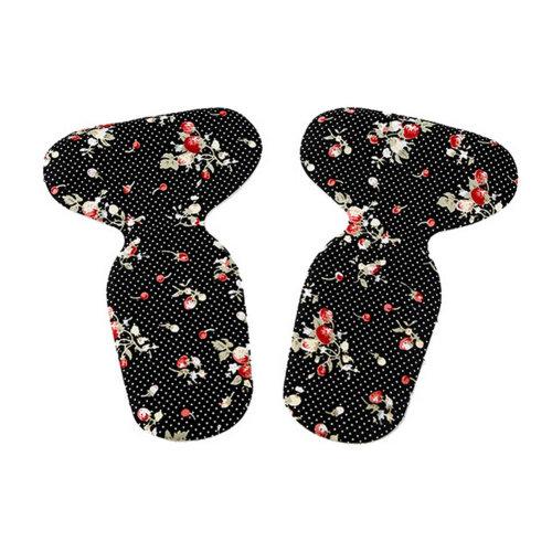 2 Pairs T Shape Heel Grips Care Heel Cushions Padded Strawberry Pattern,Black