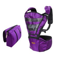 Double Shoulder Baby Carrier Hip Seat Carrier/Backpack With Waist Bag Purple