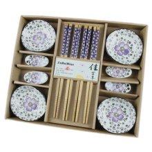 Wedding Business Gift Home Flatware Set Chopsticks/Holder/Irregular Dish 12PCS-Purple