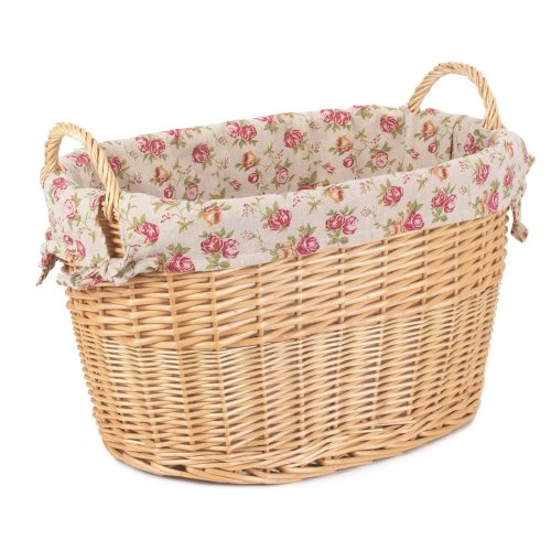 Garden Rose Lined Large Oval Buff Wicker Storage Basket