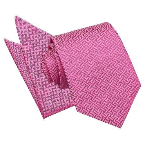 Fuchsia Pink Greek Key Tie & Pocket Square Set