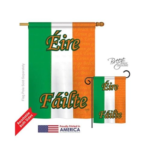 Breeze Decor 08072 Ireland 2-Sided Vertical Impression House Flag - 28 x 40 in.