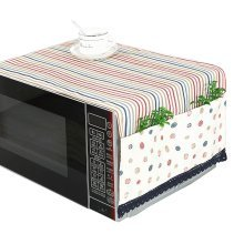 Pastoral Style Microwave Oven Dustproof Cover Dust Cover with Pockets Stripes