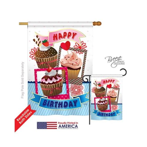 Breeze Decor 15096 Party & Celebratio Birthday Cupcake 2-Sided Vertical Impression House Flag - 28 x 40 in.