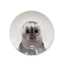 Mustard Snack Side Dessert Plate - Wild Dining Seal -  wild dining plate ceramic dinner plates animal seal side baby novelty funny party lion cub