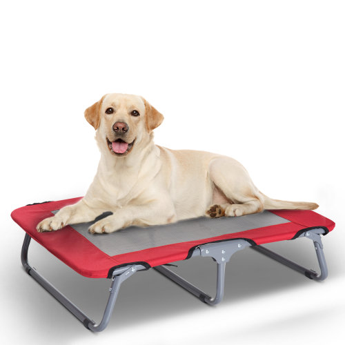 PawHut Oxford Fabric Portable Raised Pet Dog Puppy Mesh Bed Folding Finished Metal Frame Red