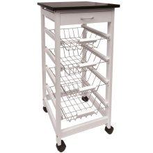MCKINLEY - Wood 5 Drawer Kitchen Storage Trolley / Island - White / Silver