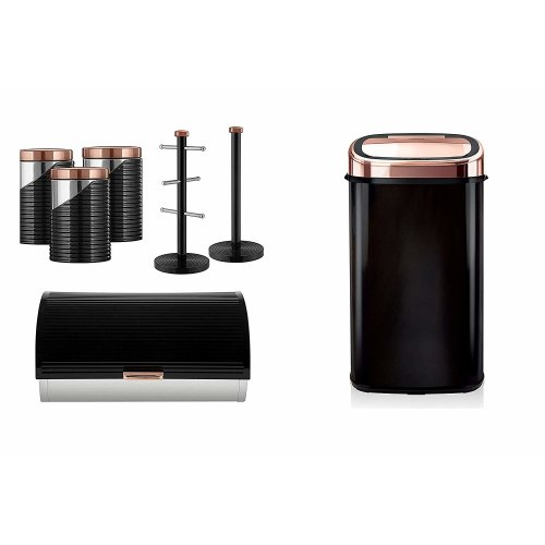 ROSE GOLD & BLACK 58L Sensor Bin, Linear Bread bin, Set of 3 Canisters and Towel Pole and Mug Tree