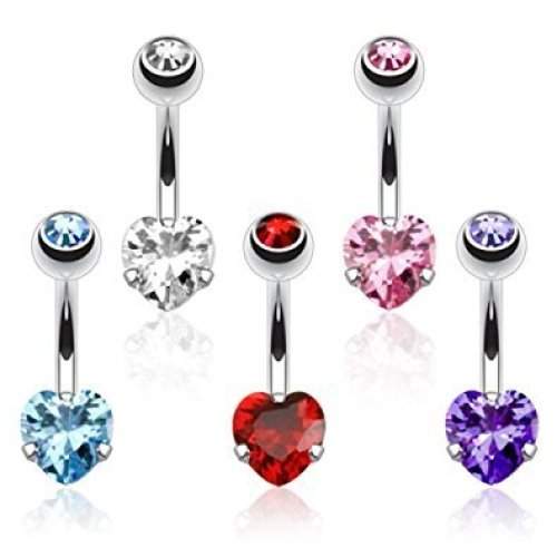 Prong Set Heart Crystal Belly Bar