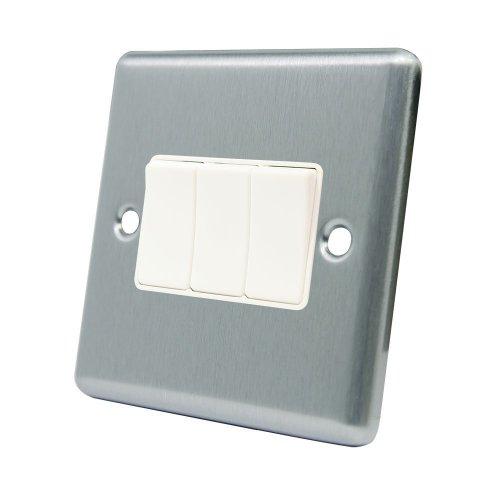 AET CSC3GSWIWH 10 A 3-Gang 2-Way Satin Finish Chrome Classical Triple White Insert Plastic Rocker Light Switch