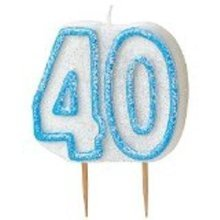 Age 40 Birthday Candle Blue Glitz