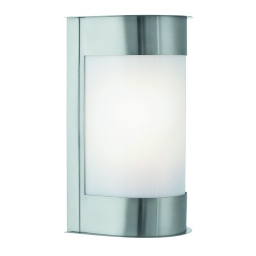 Stainless Steel Outdoor Wall Light Curved Polly Carb Diffuser