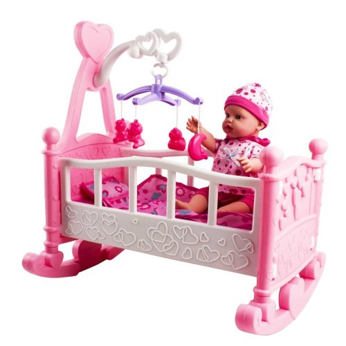 deAO Toys Pink Rocking Cradle, Doll & Accessories Play Set